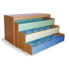 Кровать детская трехъярусная выкатная для д/сада