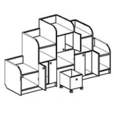 Игровая мебель стенка для детского сада - Каскад