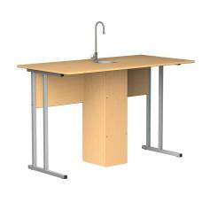 Парта стол лабораторный для кабинета химии, с сантехникой, ученический