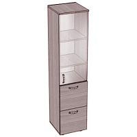 Шкаф-пенал с 2 выдвижными ящиками, дверка-стекло