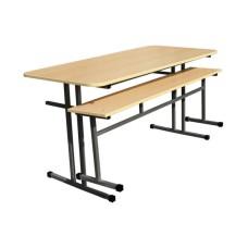 Обеденная зона школьная, 4-местная (стол +2 скамейки)